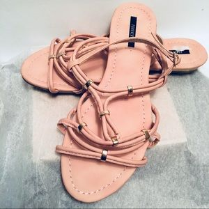 Blush colored sandals (8) low wedge gold heel